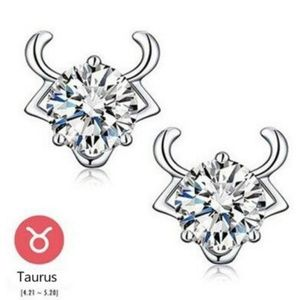 Jewelry - NEW sterling silver zodiac Taurus stud earrings